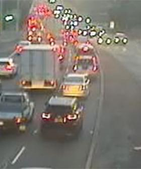 Sydney's M1 Pacific Motorway At A Standstill After Car And Truck Crash