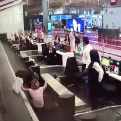 Woman Boards Luggage Conveyor Belt To Catch Her Plane