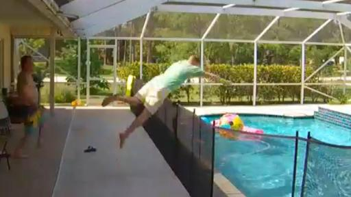 Heroic Dad Dives Over Fence to Rescue Toddler in Pool