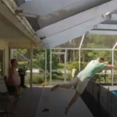 Dad's Incredible Superman Jump To Save Drowning Son