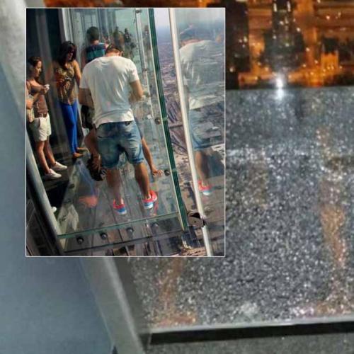 Glass Sightseeing Deck Cracks Under Visitors' Feet