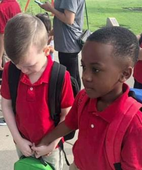 Photo Of Eight-Year-Old Consoling Upset Autistic Boy On First Day Of School Goes Viral