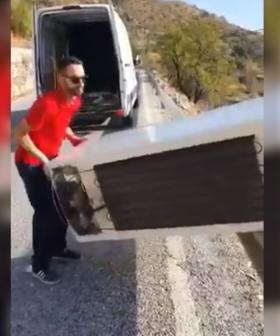 Man Who Threw Fridge Off Cliff Ordered By Police To Drag It Back Up