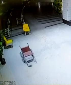 Eerie CCTV Footage Captures Hospital Wheelchair Moving On Its Own