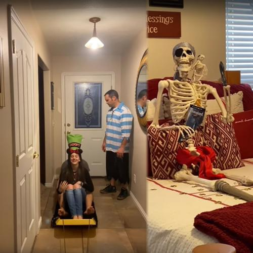 Self-Isolating Family Re-Create Disneyland Ride In Their Lounge Room