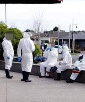 Group Of COVID-19 Cleaners Spotted Eating And Talking On Phone While Wearing Their PPE