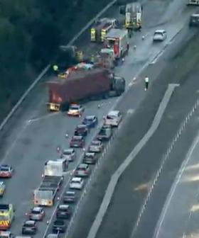 Truck Fire Closes Southbound Lanes On Sydney's M1 Pacific Motorway